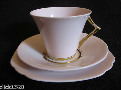ART DECO DIAMOND CHINA (BLYTH PORCELAIN) #8260  CUP/SAUCER/PLATE TRIO  c.1930's