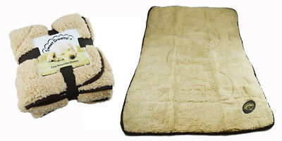 Dog Blanket Puppy Cosy Reversible Comfort Warm Fleece Quilt Snuggle Beige Brown