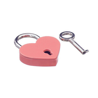Retro Style Mini Padlock Heart Shape Key Lock Small Suitcase Bag Diary Pink