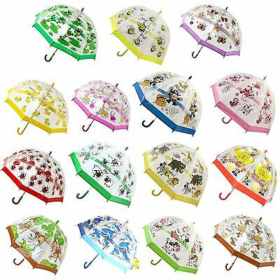 Bugzz Kids Childrens Clear PVC Colourful Dome Design Umbrella Brolly Ducks New
