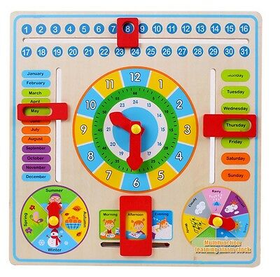 Multifunctional Early Learning Educational Wooden Calendar Toy Clock Chart Kids