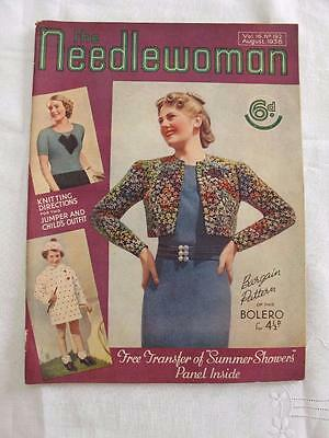 """VINTAGE 1930's """"THE NEEDLEWOMAN"""" SEWING FASHION MAGAZINE - AUGUST 1938"""
