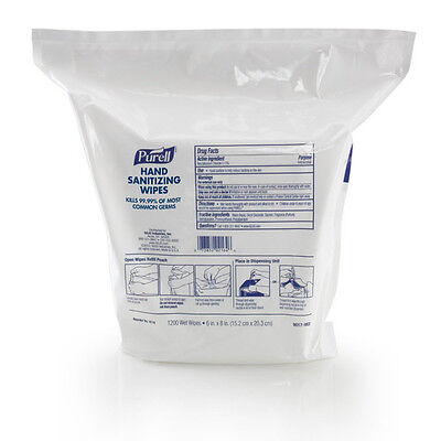 Purell 1,200 Wipes/Pouch Hand Sanitizing Wipes Refill (2-Pack) 911802 New