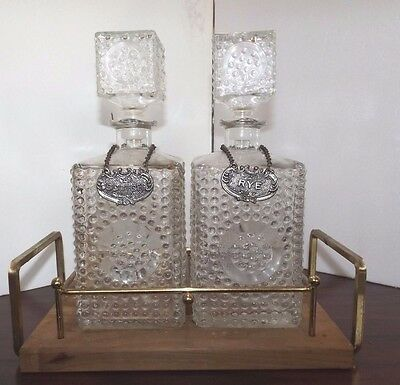 Vintage Hobnail Pair of Scotch Rye Decanters & Hang Tags & Stand Whiskey Liquor
