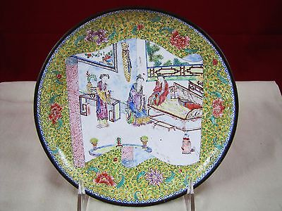 Antique Chinese Mid-19th Century Hand-Painted Cloisonné Enamel Plate