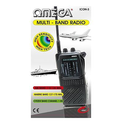 Omega 4997 Black CB-FM TV-1 AIR PB/MARINE WB Multi Band Radio New