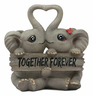 Together Forever Elephant Couple w/ Heart Shaped Trunks Figurine Valentine Gift