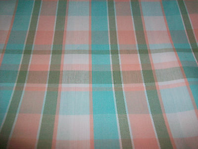 """PASTEL BLUE & PINK PLAID DESIGN COTTON UPHOLSTERY FABRIC - 70"""" x 56"""" WIDE!"""