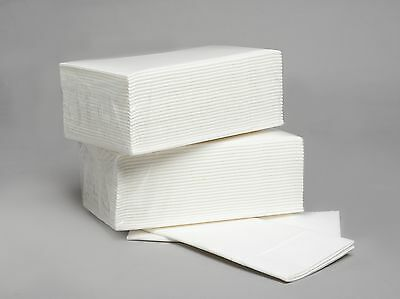 50 White Airlaid Paper Hand Towels /Napkins/ Disposable / 8 Fold