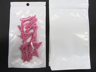 """White Mylar 4""""x7"""" (10x18 cm) Ziplock Packaging Bag/Hang Hole/Clear Front WL-3"""
