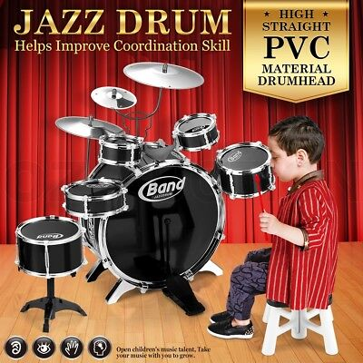 Jazz Drum Kit Play Toy Set Musical Instruments with 6 Drums & 3 Cymbals Black