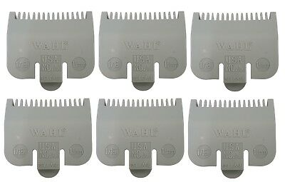 "6 Wahl Professional Color Coded Clipper Guide Comb Attachment #1/2, 1/16"", 1.5mm"