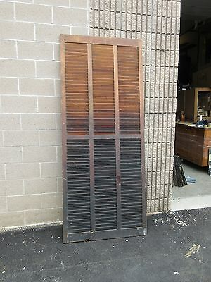 """huge SOLID circa 1890 VICTORIAN shutter screen WITH louvers 94"""" x 39"""" x 1.25"""""""
