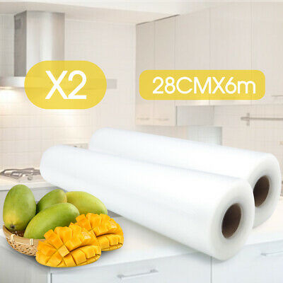 2x Vacuum Food Sealer Roll Bags Saver Seal Storage Heat Commercial 6m x 28cm