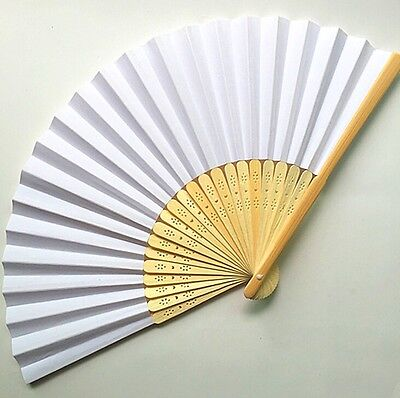 FD4244 White Chinese Folding Bamboo Fan Retro Hand Paper Fans Wedding Decor
