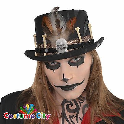 Adults Mens Witch Doctor Voodoo Top Hat Fancy Dress Halloween Costume Accessory