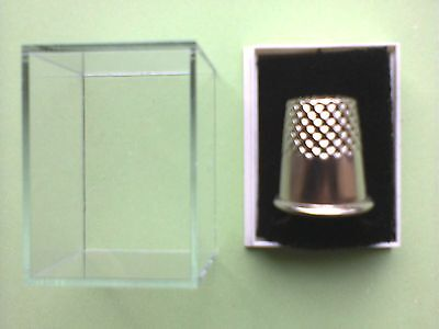 Wholesale 25 Clear Lid Thimble Display Boxes Black Thimble Pads £10.80 Freepost