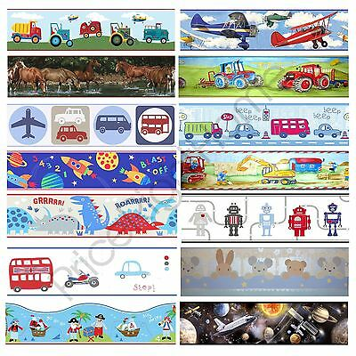 Boys Themed Wallpaper Borders Kids Bedroom Cars, Dinosaur, Space Wall Decor