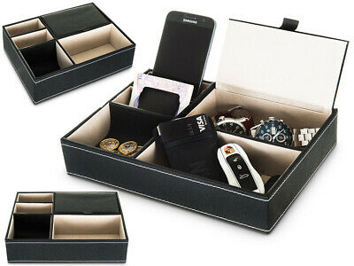 Livivo 5 Compartment Leather Valet Tray Mens Black Watch Key Desk Organiser Tidy