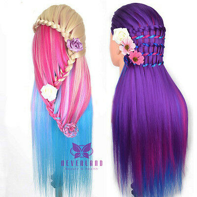 """Hottes 30"""" Hairdressing Training Head Model Dummy Head Long Colorful Hair +Clamp"""