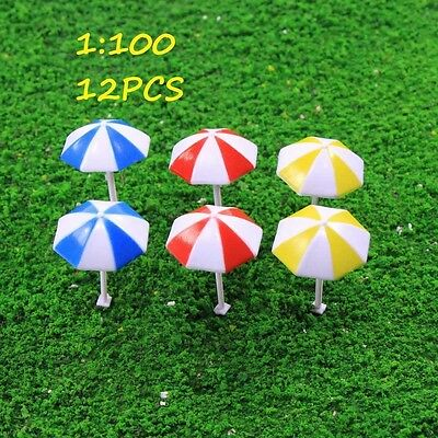 TYS11100 12pcs Model Train Sun Umbrella Parasol 1:100 TT HO  Garden Sea Beach