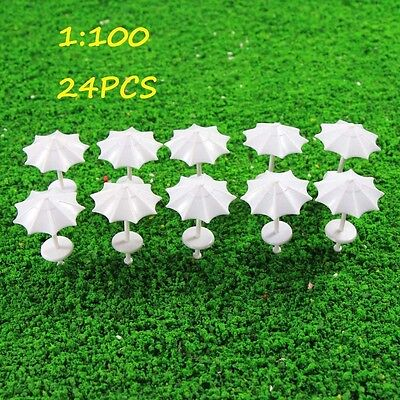TYS12100-24 24pcs Model Train Railway Sun Umbrella Parasol White 1:100 TT Bench