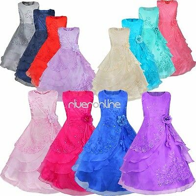 Flower Girls Princess Pageant Party Wedding Birthday Formal Kids Long Gown Dress