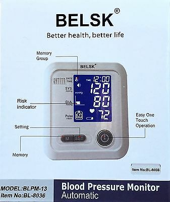 Automatic Upper Arm Blood Pressure Monitor 2015 Model With Talking Pulse