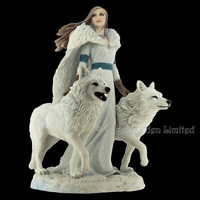 *WINTER GUARDIANS* Fantasy White Wolf Art Resin Figurine By Anne Stokes