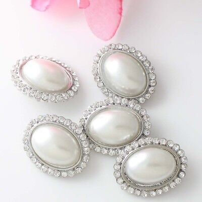 5 Pcs Crystal Rhinestone Oval Faux Pearl Shank Buttons Costume Sewing Crafts