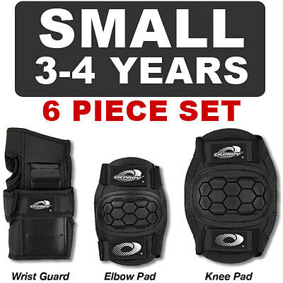 NEW 6 Piece Childs Boys Girls Skate Cycle Knee Elbow Wrist Pads - SMALL - BLACK