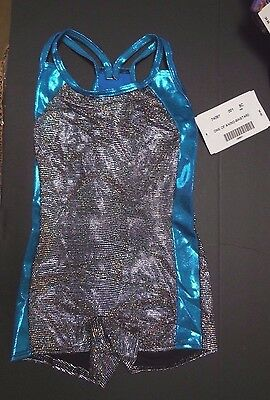 NWT Axis Gymnastic Dance Camisole shorty unitard black hologram foil small child