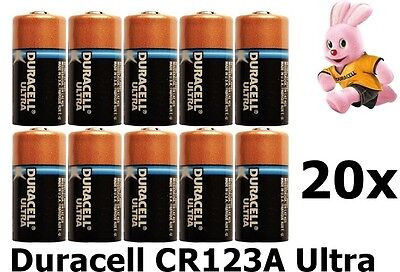 20x Duracell CR123A Ultra lithium battery NK048 GB