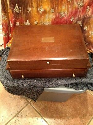 Antique Wooden Silverware Box With Drawer Old GJS