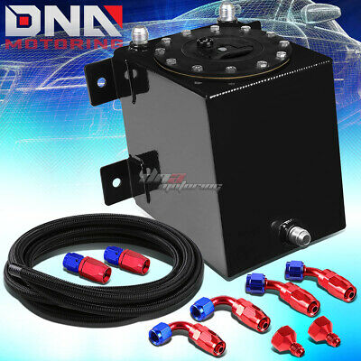 1 Gallon Polished Coated Race Fuel Cell Tank+Cap+Level Sender+Steel Line Kit
