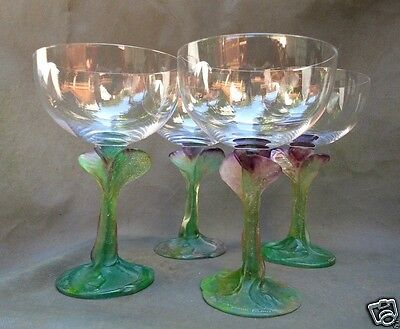 Set 4 Daum France French Crystal Claret Goblets Pate de Verre Nature Pattern