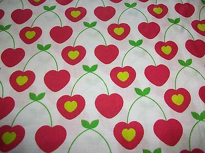 Heart Shaped Cherries On White Cotton Fabric