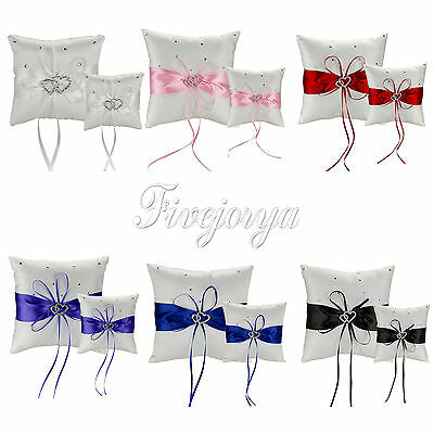 Bridal Wedding Ceremony Ring Bearer Pillow Cushion Crystal Double Heart 2 Size