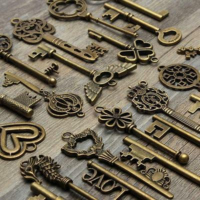 24 Assorted Antique Retro Large Skeleton Keys Bronze Steampunk Jewelry Pendants