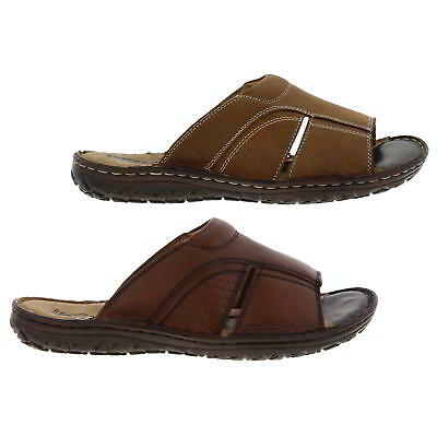 Ikon Devon Mens Leather Slip On Comfortable Flexible Mule Sandals Size UK 7-11