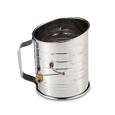 Mrs. Anderson's Baking 3-Cup Stainless Steel Crank Flour Sifter Crank Handle