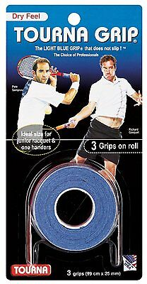 Tourna Tennis Racquet Over Grip 3 Overgrips Absorbent Dry Feel Tournagrip Blue