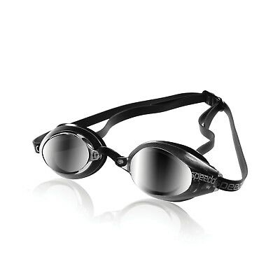 Speedo Speed Socket Mirrored Swim-Swimming Anti-Fog Racing Goggles Silver New