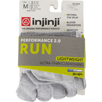 Injinji Performance 2.0 Run Lightweight No-Show CoolMax Toe Socks Gray Medium