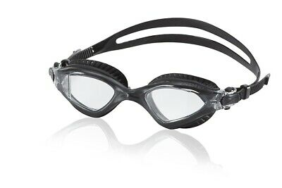 Speedo Fitness MDR 2.4 Swim Swimming Silicone Goggles, Charcoal Black/Clear