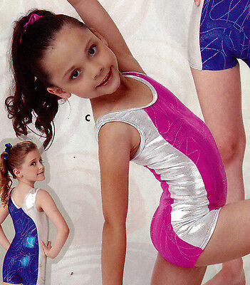 NWT Pink Foil shorty unitard Large child Girls 12-14 tank style Gymnastics Acro