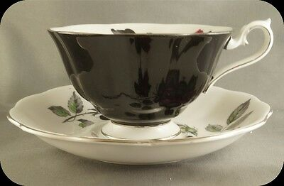 Royal Albert Black Masquerade Rose Floral Cup And Saucer