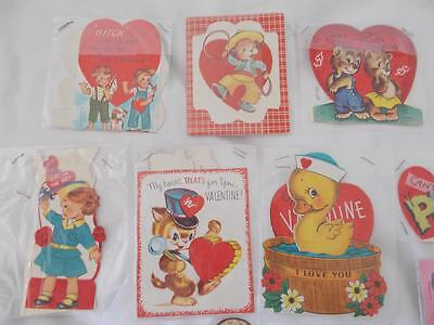 Lot of 17 vintage VALENTINE GREETING CARDS 1940s-1970s used ROCKET CAT DOG CAT