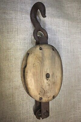 "Wood single Pulley block tackle rustic old vintage 1800's 5"" wheel Swan look"