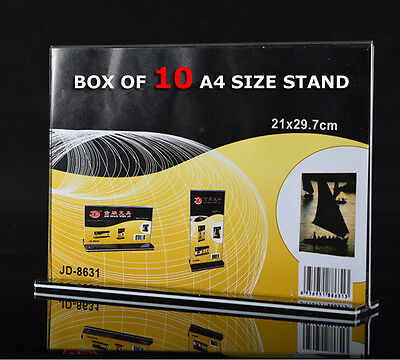 10x A4 Size Sign Holder Acrylic Retail Display Stands Menu Restaurant Display